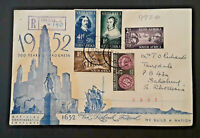 1952 South Africa Tricentennial Rhodesia Van Riebeeck Festival Registered Cover