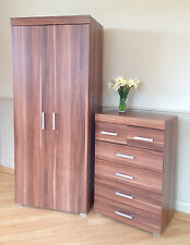 2 Door Wardrobe & 4 2 Chest of Drawers in Walnut Effect Bedroom Furniture 6 Set