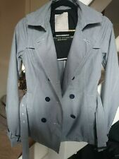 Ladies River Island Fine Navy Pin Stripe Jacket Double Breasted Belted Size 8