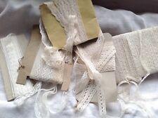 Antique Laces Job Lot Bobbin Valenciennes Trims 19C Vintage Wedding & Dolls 5pc