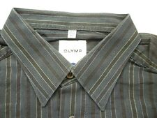 E7863 Olymp Tendenz Businesshemd Kombimanschette 42 blau, schwarz gestreift