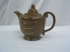 """Beautiful Medium Brown Teapot With Gold Accents  7"""" Height VGC"""