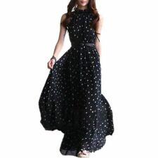 De gasa de mujer Maxi vestido largo completo sin mangas con Cinturon negro O1z7