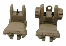 Tactical Folding Flip Up Front & Rear Sights Dual Aperture Backup Tan Polymer