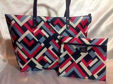 Ralph Lauren Women's Bainbridge Tote Marine Geo Pink Blue White Handbag New NWT