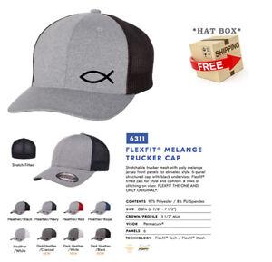 JESUS FISH GOD CHRISTIAN Trucker Cap FLEXFIT HAT *FREE SHIPPING in BOX*