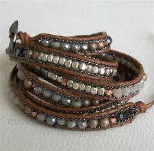 Nakamol 5 Wrap up Moonstone, Mixed Crystal & Bead with Leather Moonstar Bracelet