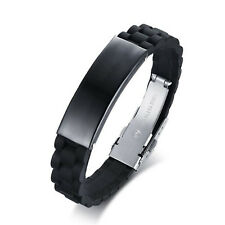 Men Basketball Sports Silicone Wristband Stainless Steel Bracelets for Men Women