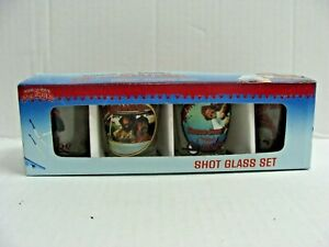 """CHEECH AND CHONG """"UP IN SMOKE"""" SHOT GLASS SET OF (4) NEW IN BOX"""