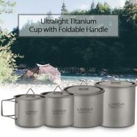 Lixada 650ml Titanium Coffee Mug Outdoor Camping Water Cup with Handle Hot P8V8