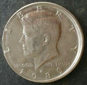1989 P 50c Kennedy Half Dollar Off-Center/Partial Collar Error