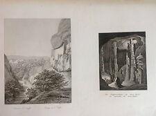 Cataluña, Montserrat,grabado alemán original,c.1850