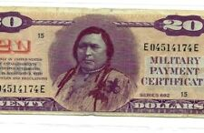 "$20 ""INDIAN CHIEF"" (MILITARY PAYMENT CERTIFICATE) $20 ""INDIAN CHIEF"" CRISPY!!!"