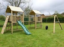 The Works Double 6ftsq Quality Wooden Climbing Frame Jungle Gym Save