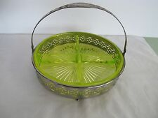 "YELLOW VASELINE DEPRESSION GLASS 8.5 "" 4 PART RELIS DISH w/NICKEL PLATE CARRIER"