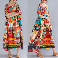 Oversize Femme Dresse Casual en vrac Floral Printed Manche courte Robe Maxi