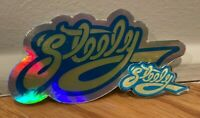 COMBO LOT Steely Dan Die-Cut Holographic Decal Sticker and PIN; Fagen, Becker