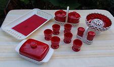 Roter Traum aus den 70ern - Vintage EMSA Set - Florenz mit Flechtdekor - rar