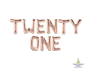 TWENTY ONE Letter Balloon Banner - Gold, Rose Gold and Silver Party Decorations