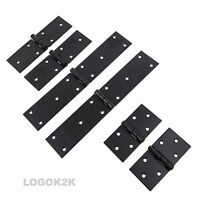 2 x BLACK Powder-Coated Backflap Heavy Duty Strap Hinges Tee Door Gate Box Shed
