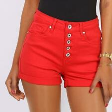 Short Women's Jeans Shorts with Button Facing Stretch Red #H1820