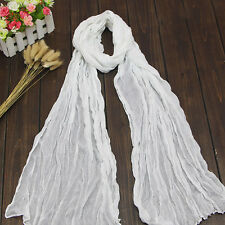 Women Winter Autumn Scarf Cotton Crinkle Long Soft Scarves Hijab Shawl Stole