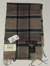 New BARBOUR Men's Gray Tartan Plaid Lambswool and Cashmere Scarf