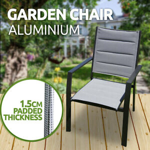 Deluxe Aluminium Outdoor Padded Garden Chair, 'TINA' Chair, Grey, New
