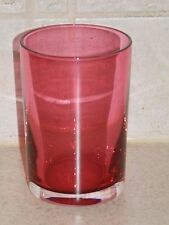 DAUM CRISTAL FRANCE CRANBERRY & CLEAR ART GLASS FLAT TUMBLER 4 1/4""