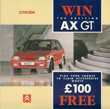 Citroen AX GT Competition Motor Show 1988 UK Market Foldout Brochure