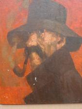 Sandrin Christian tableau peinture huile sur panneau homme à la pipe Volvic