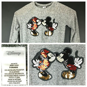 Disney Womens XL (42 in Bust) Mickey Minnie Kiss Sequined Lightweight Sweatshirt