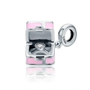 S925 Silver Romantic Pink Box Marry Me Pendant Charm With A Cubic Zirconia Stud