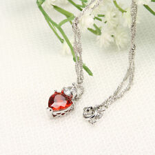 Fashion Charm Women Heart Crystal Rhinestone Silver Chain Pendant Necklace Gift
