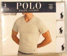 Polo Ralph Lauren Men's White Slim Fit V-Neck Moisture Wicking T-Shirt 3 Pack