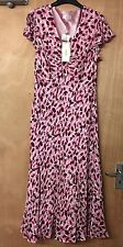 BNWT CC SIZE 14 TEAROSE LADIES PATTERNED V-NECK LINED SILK MIDI DRESS RP £140 5F