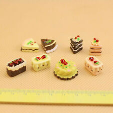 8 Pcs/set Dollhouse Miniature Cakes Assorted Chocolate Strawberry Cherry Cakes
