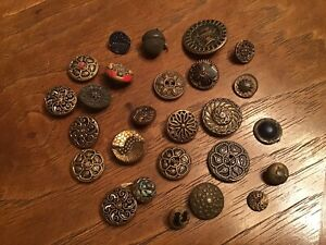 Assortment 26 Vtg Antique Metal Twinkle Buttons & More, One Acorn Shape Very Old