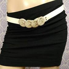"""Diesel Womens Waist Belt White Leather Indian Heads 1"""" Wide Italy Size 85 cm 34"""""""
