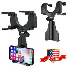 2 IN 1 Car Rear-View Mirror Mount Stand Holder Cradle For Cell Phone iPhone HTC