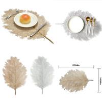 2PCS Leaf Placemats Vintage PVC Insulation Dining Table Mats Restaurant Pad Gold
