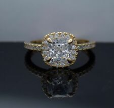 Halo Lab Diamond Cushion Cut 14K Yellow Gold Engagement Ring 2 Ct.