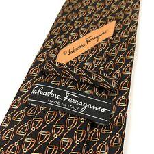 New Salvatore Ferragamo Neck Tie Black Silk Interlocking Stirrup Bit Pattern