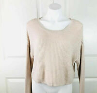 Urban Outfitters Silence + Noise L/S Cropped Knit Sweater Top Beige Boho Size M