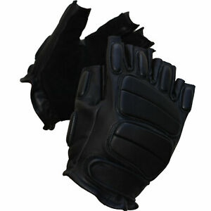 ANTI RIOT Tactile Half Finger Padded Knuckle FULL LEATHER Biker Cycling Gloves