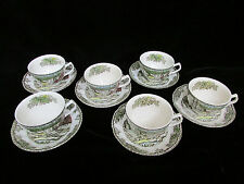 12pc Johnson Bros England Coffee Tea Cups and Saucers Friendly Village Willow