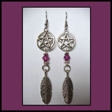GYPSY BOHO  PENTAGRAM/'FEATHER'  DANGLE EARRINGS