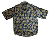 Colore Italia Men's Floral Hawaiian Silk Shirt Button Front Short Sleeve Sz L