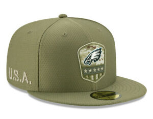 Philadelphia Eagles New Era Olive Salute to Service Sideline 59FIFTY Fitted Hat