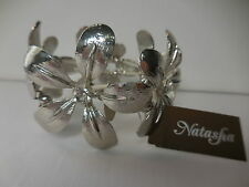Natasha Statement Flower Rhinestone Stretchy Bracelet Silver NWT